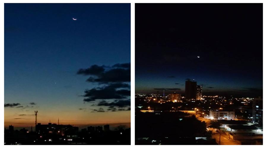 A beleza da conjunção Vênus/Lua crescente na noite de hoje