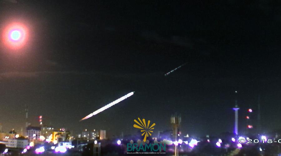 Meteoro é filmado em alta definição na Paraíba ao cortar céu do Ceará