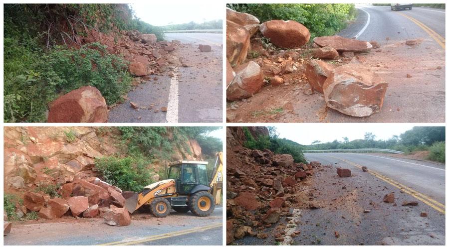 DER retira pedras que despencaram com as chuvas na Serra de Teixeira