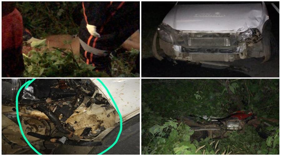Colisão entre carro da Prefeitura de Condado e moto deixa duas jovens gravemente feridas