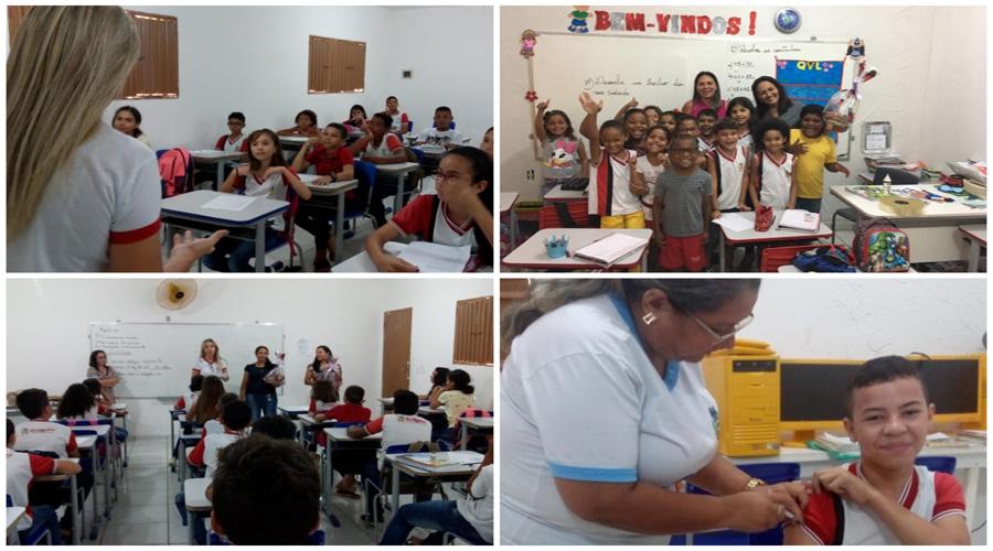 Programa Saúde na Escola vacina contra HPV e atualiza caderneta vacinal de alunos em Quixaba