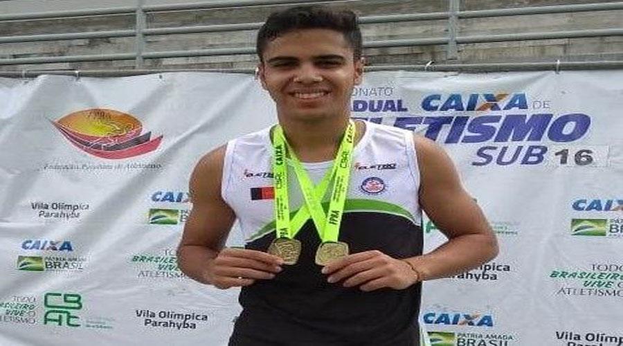Atleta patoense conquista dois ouros no Paraibano Caixa de Atletismo Sub-16