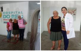 Idosa comemora a cura do câncer no Hospital do Bem, em Patos
